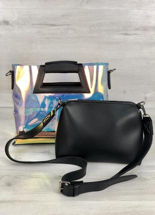 Прозрачная голографическая сумочка клатч 2 в 1 рептилия сумка комплект1 фото