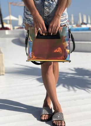Прозрачная голографическая сумочка клатч 2 в 1 рептилия сумка комплект2 фото
