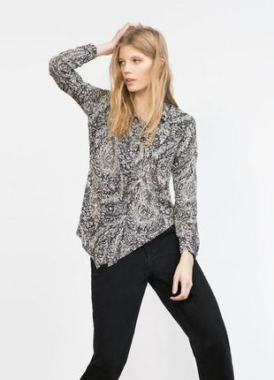 Шифоновая блуза рубашка топ с асимметричным низом принт