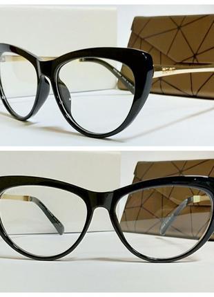 Имиджевые  очки лисички в черной оправе дужки металл  ( код 58606)