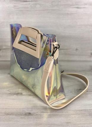 Прозрачная голографическая сумочка клатч 2 в 1 рептилия сумка комплект4 фото