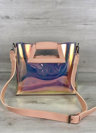 Прозрачная голографическая сумочка клатч 2 в 1 рептилия сумка комплект5 фото