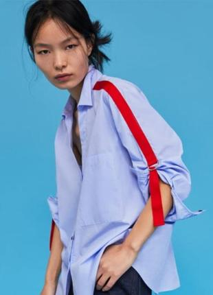Рубашка с яркими лентами лампасами zara1 фото