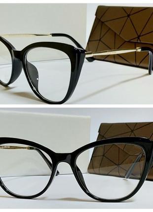 Имиджевые очки в черной оправе дужки металл (код 6253)