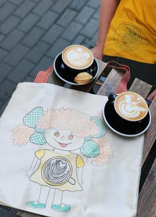 Эко сумка шоппер торба пляжная @don.bacon пудовая с девочкой и чашкой кофе