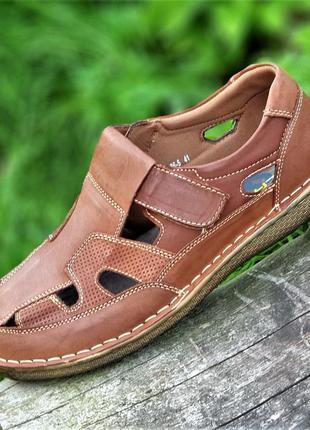 Босоножки сандалии мужские кожаные летние рыжие