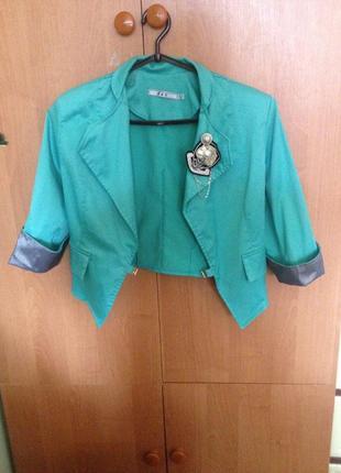Укороченные бирюзовый пиджак xs/s