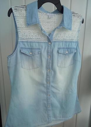 Джинсовая блуза топ безрукавка рубашка