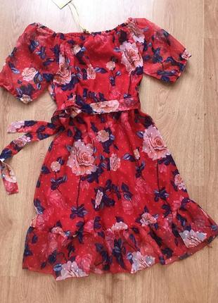 Шикарное шифоновое платье с воланом