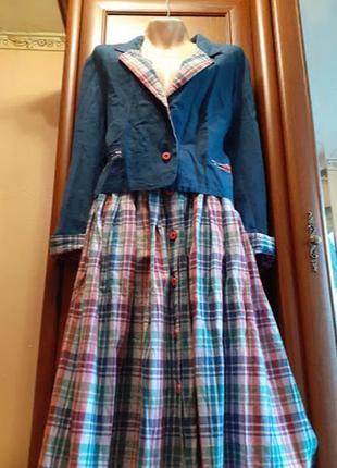 Льняной костюм комплект набор пиджак юбка жакет блейзер в клетку винтаж клетчатый