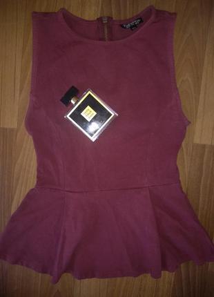Бордовая блуза с баской topshop