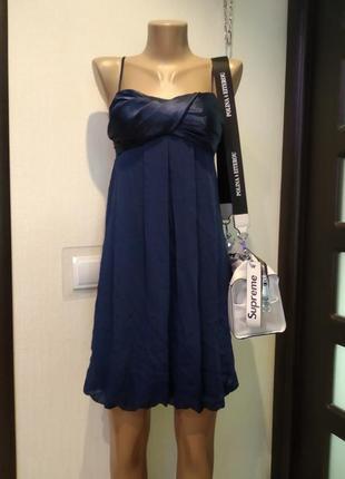 Стильное тонкое легкое платье сарафан мини коктейльное темно-синее