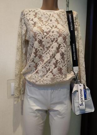 Отличный стильный ажурный стрейчевый джемпер свитер пуловер свитшот бежевый