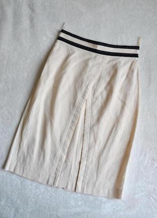 Скидка на летнее  льняная дорогая дизайнерская юбка, интересный крой, базовая вещь