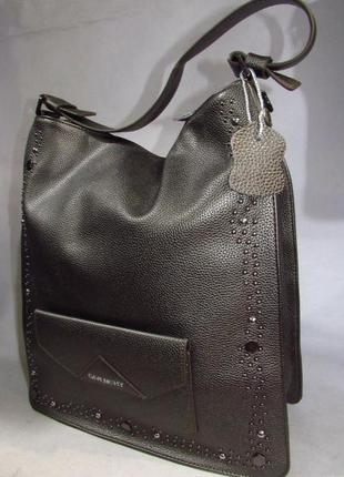Сумка женская кожаная бронзовая шоппер брендовая большая вместительная натуральная кожа1 фото
