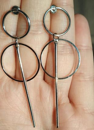 Серьги геометрия серебро сережки2 фото