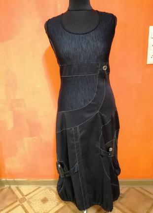 Трикотажный миди сарафан. длинное платье миди свободного фасона м-хл