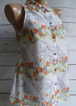 Блуза белая в цветочный принт warehouse