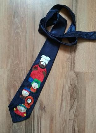 Мужской галстук hand made с мультяшками gold&city
