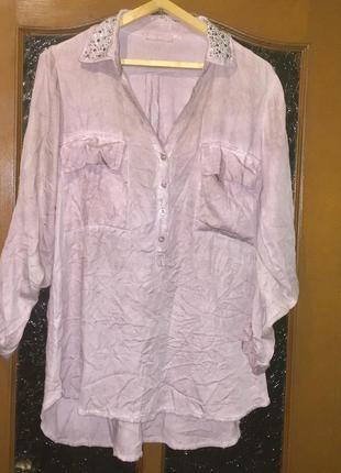 Удлиненная блуза туника ;вискоза;рукав трансформер; цвет пудра хамелеон