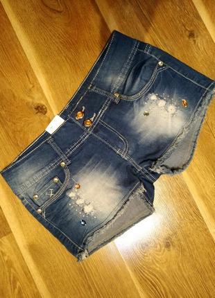 Шорты джинсовые рванка стразы