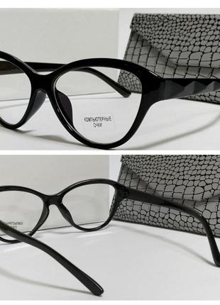 Очки имиджевые компьютерные лисички черная пластиковая оправа (код 31)