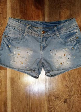 Шорты джинсовые рванка стразы звезды