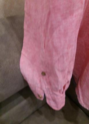 Льняная рубашка.  оригинал-бренд-springfield-xl-ворот-42----лен4 фото