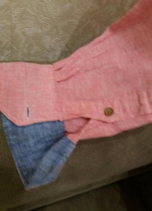 Льняная рубашка.  оригинал-бренд-springfield-xl-ворот-42----лен5 фото