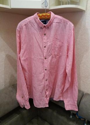 Льняная рубашка.  оригинал-бренд-springfield-xl-ворот-42----лен