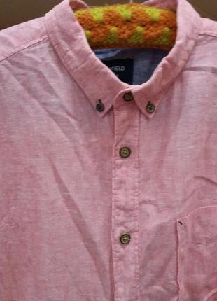 Льняная рубашка.  оригинал-бренд-springfield-xl-ворот-42----лен6 фото