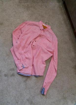 Льняная рубашка.  оригинал-бренд-springfield-xl-ворот-42----лен2 фото