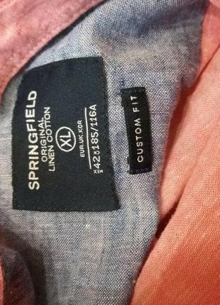 Льняная рубашка.  оригинал-бренд-springfield-xl-ворот-42----лен9 фото