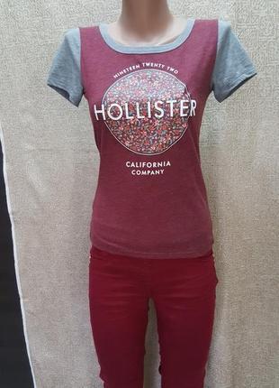 """Стильная краисвая футболка калифорния """"hollister""""  36-38"""