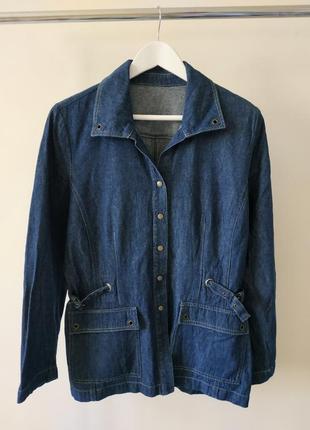 Тонкий джинсовый жакет пиджак