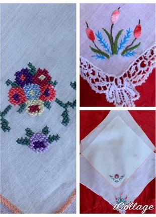Набор хлопковые носовые платочки платок с вышивкой ручной работы