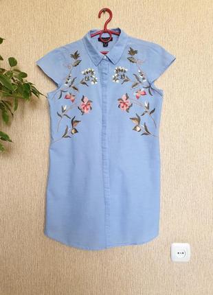 Очень нежное, красивое платье рубашка с вышивкой atmosphere