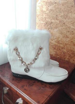 ✅красивенные зимние ботиночки на меху с натуральным мехом кролик подвеска