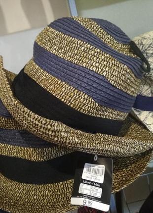 Неповторимая легкая летняя шляпа светло-коричневого цвета c синим рисунком от ovs, р. 57