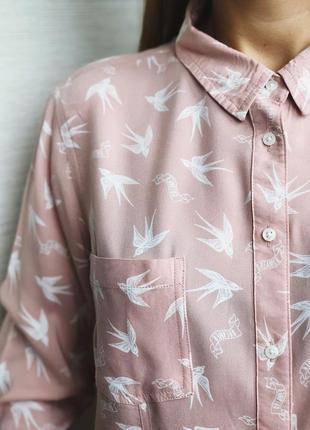 Бледно-розовая рубашка в ласточки!
