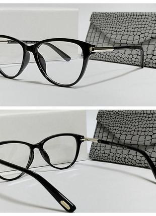 Очки имиджевые компьютерные лисички черная оправа  (код 5190)
