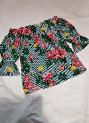 Блузка блузон рубашка с открытыми плечами