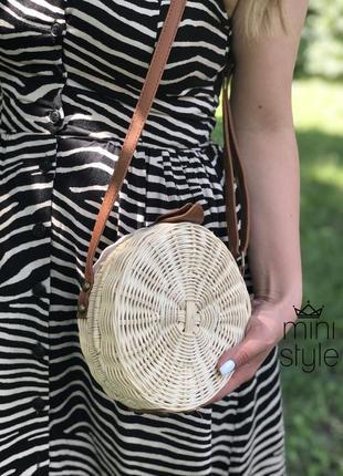 Сумка на длинной ручке cross-body сумочка соломенная круглая balibag кроссбоди2 фото