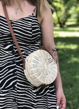 Сумка на длинной ручке cross-body сумочка соломенная круглая balibag кроссбоди3 фото