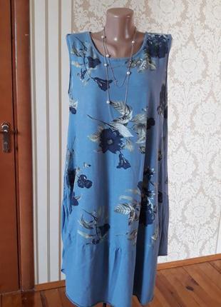 Лёгкое котоновое итальянское платье бохо  в принт