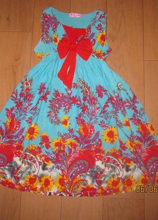 Красивейшее платье ярких цветов для девочки 8 лет paris