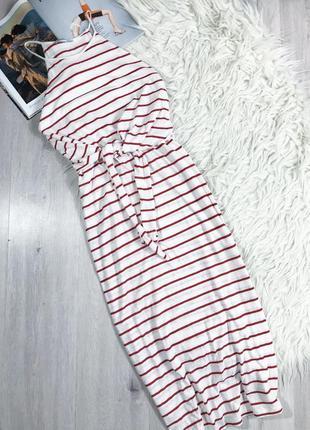 Стильное макси платье в полоску zara с новых моделей