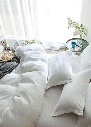 Страйп-сатин белый - плотное и натуральное постельное белье из сатина 100 хлопок