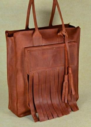 Шикарная сумка шопер кожа crazy horse!