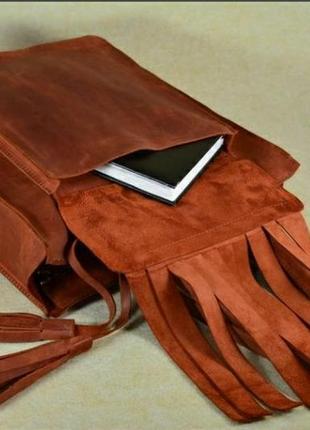 Шикарная сумка шопер кожа crazy horse!2 фото